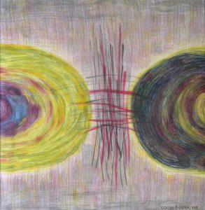 KONFLIKT 2012 <br/> Názorová nezhoda, rozkol, diskomfort. Jeden tak, druhý onak.  A harmónia vnedohľadne. <br/> 72 cm x 70cm