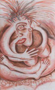 SAMOSTATNÁ 2006 <br/> Samostatná žena,  úplne.  Odkázaná  len a len  na seba.  Kto by jej závidel? <br/> 73 cm x 44 cm