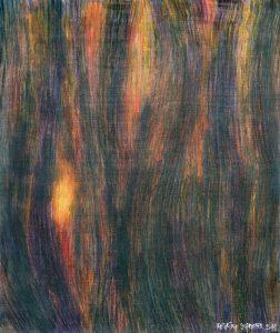 SLNEČNÝ DEŇ V ČIERNOM LESE  2007 <br/> Aj do  nedostupných hlbín  (duše)  občas prenikne svetlo  ana istý čas pomôže… <br/> 64 cm x 55 cm